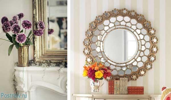 Зеркало в гостиной. Красивое дополнение интерьера