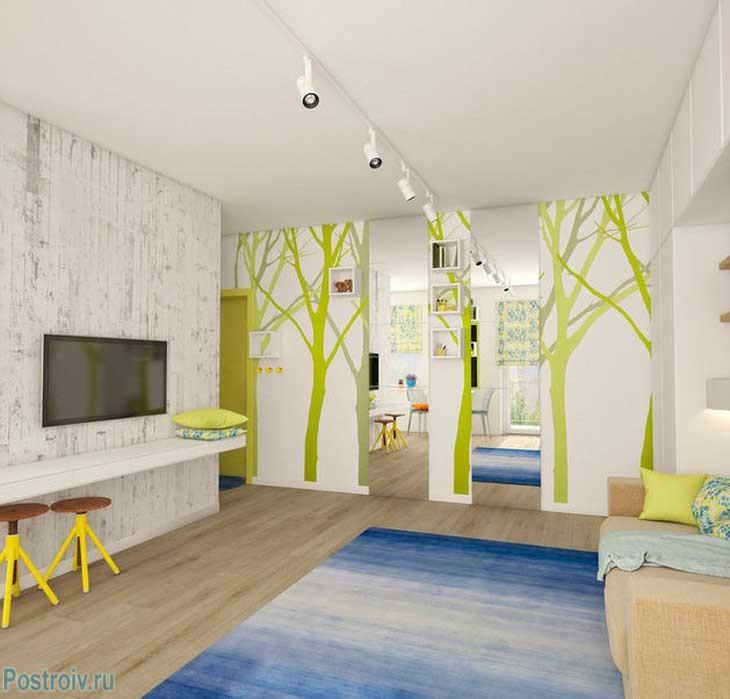 Как разделить однокомнатную квартиру на зоны цветом