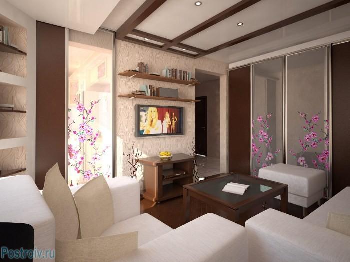 Сочетание бежевых и коричневых тонов в интерьере гостиной - Фото 04