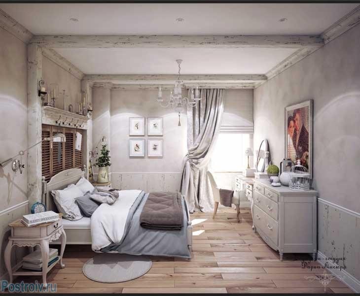 Шторы в стиле прованс в хозяйской спальне. Фото