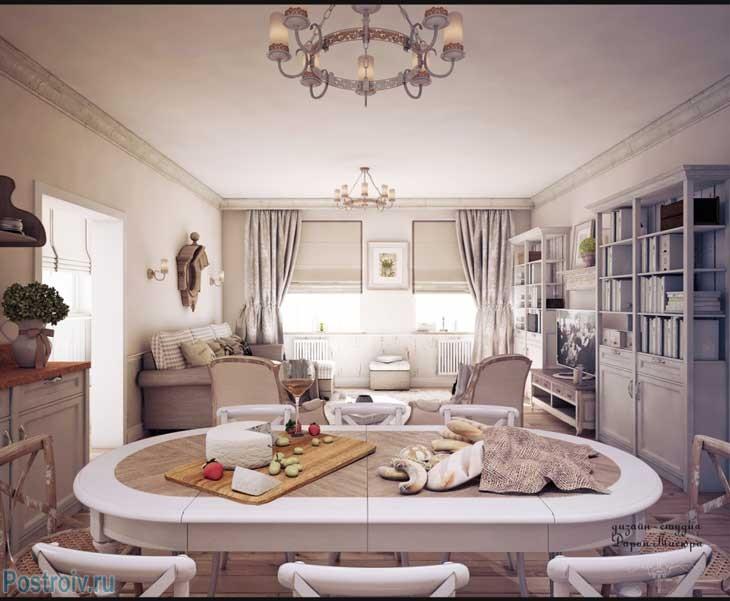 Дизайн интерьера кухни-гостиной в стиле прованс. Однотонный мебель шторы и декор. Фото