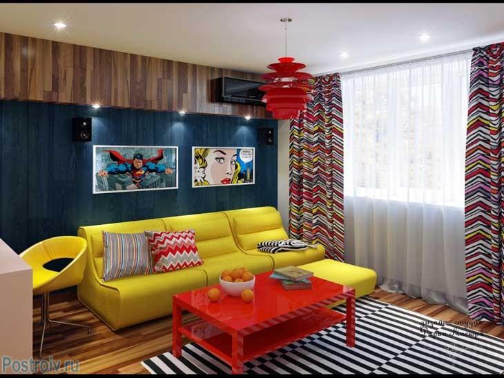 Пример квартиры в стиле фьюжн с элементами поп-арт. Фото