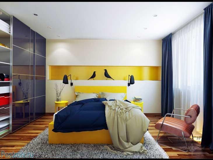 Интерьер спальни в стиле фьюжн. Фото