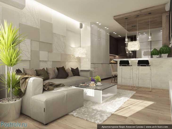 Белый ковер в современной гостиной. Фото