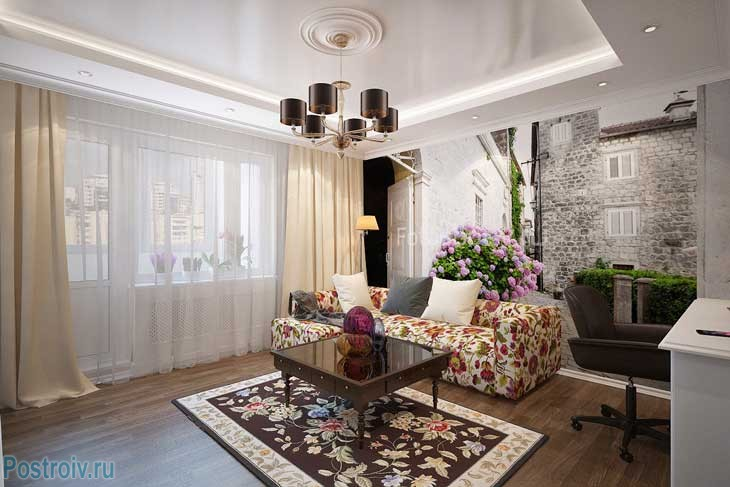 Ковер с цветами в небольшой современной гостиной. Фото