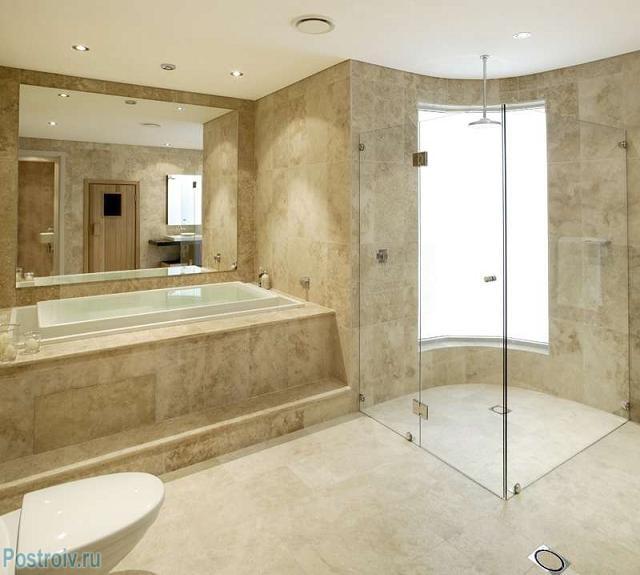 Декор ванной комнаты с применением травертина - Фото 07