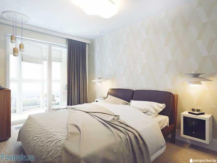 Бежевые стены и коричневые шторы в спальне. Фото