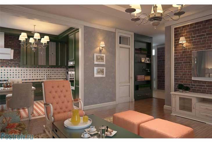 Стены серого цвета в гостиной с английским стилем. Фото