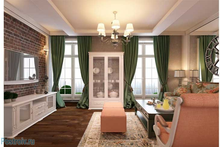 Оранжевая мебель и коричневый паркетный пол. Фото