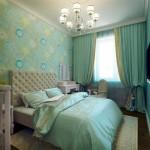 Бирюзовая спальня в английском стиле. Фото