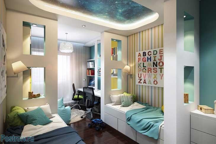 Детская комната со звездным небом. Фото