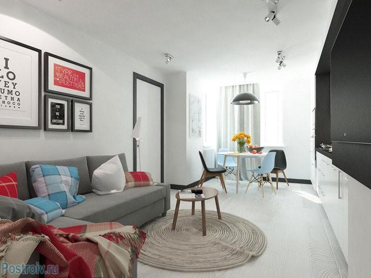Гостиная-кухня. Планировка двухкомнатной квартиры. Фото