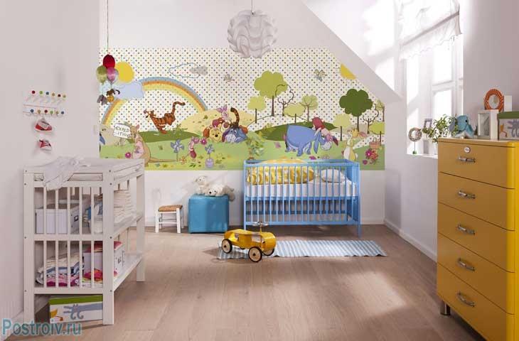 Фотообои в детской комнате для малышей. Фото
