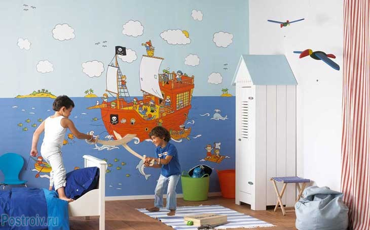 Фотообои в детской спальне. Фото