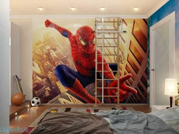 Фотообои в детской комнате с человеком пауком. Фото
