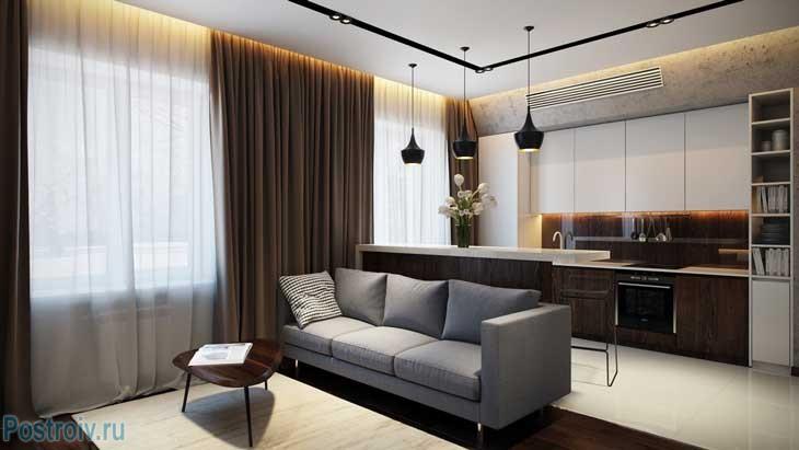 Современный дизайн гостиной-кухни. Фото