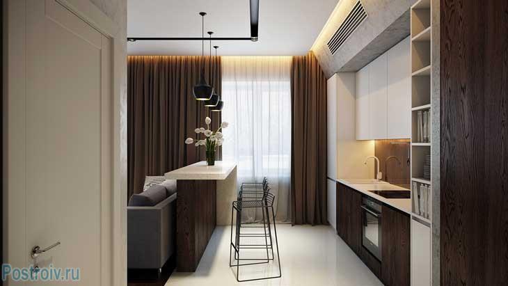 Барная стойка и коричневые плотные шторы на гостиной-кухне. Фото
