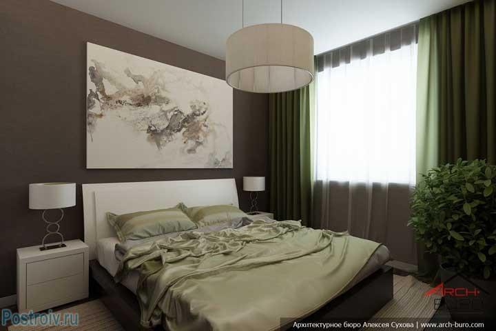 Зеленые шторы в спальне. Фото