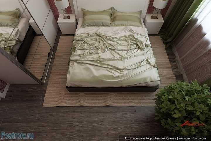 Вид спальни 12 кв. м. сверху. Фото