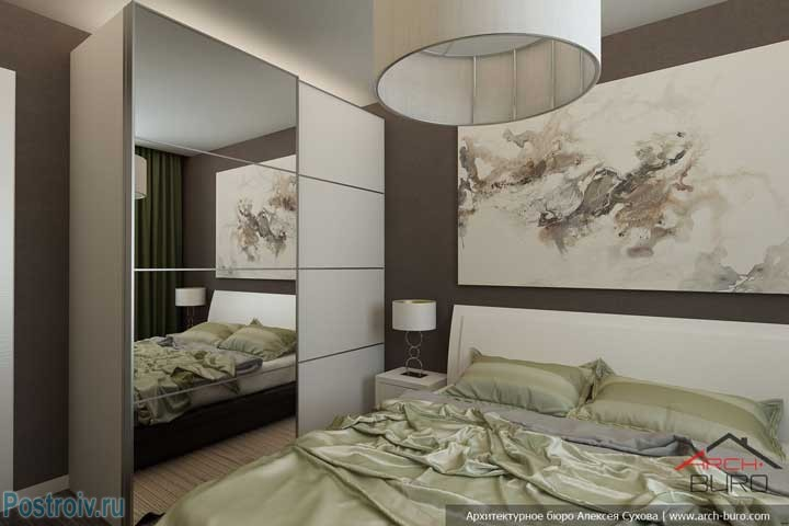 Белая мебель в спальне с коричневыми обоями. Фото