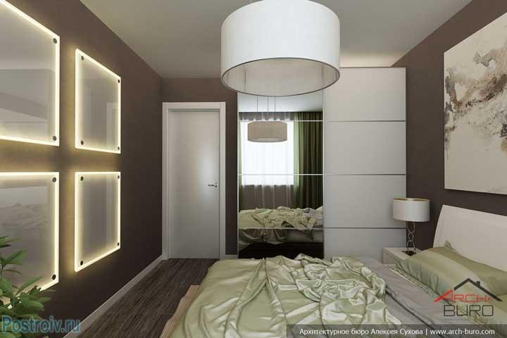 Очень простой, но очень красивый интерьер типовой спальни в панельном доме. Фото
