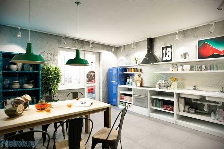 Отделка стен на кухне под бетон. Стиль лофт. Фото