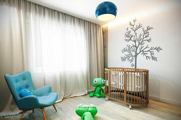 Детская комната для маленького ребенка в стиле лофт. Фото