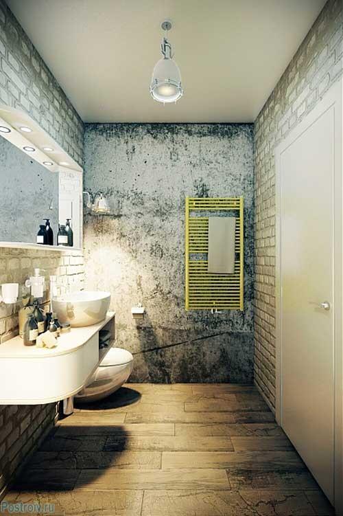 Отделка ванной комнаты белым декоративным кирпичом. Фото