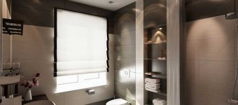 Белый матовый потолок в ванной. Фото