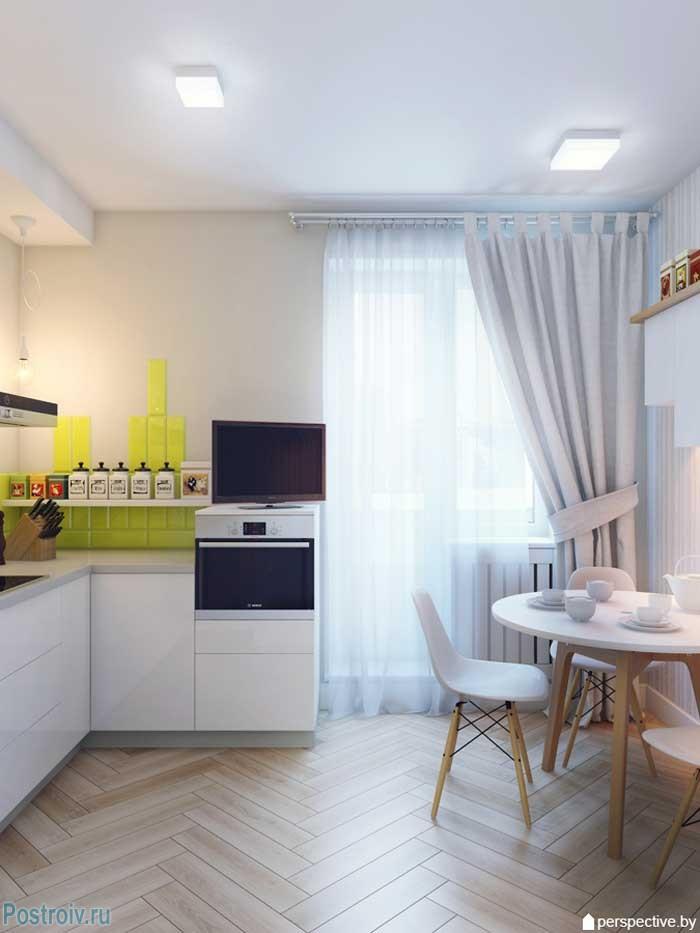 Дизайн светлой кухни в однокомнатной квартире 36 кв. м. Фото