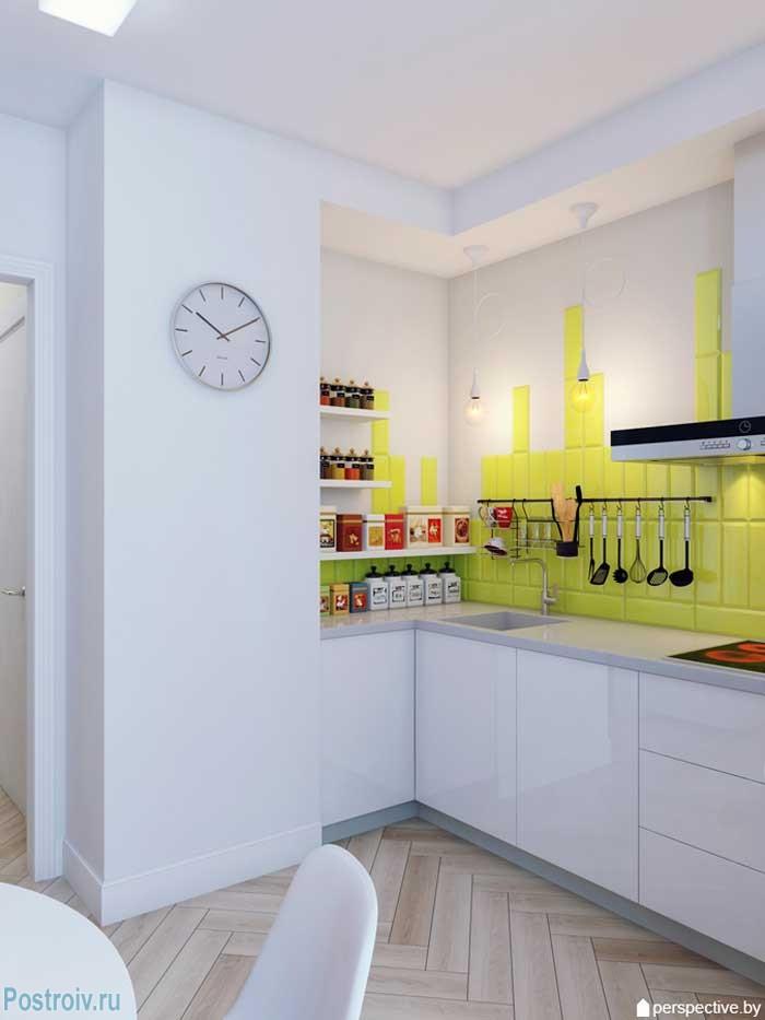 Белая кухня в однокомнатной квартире 36 кв. м. Фото