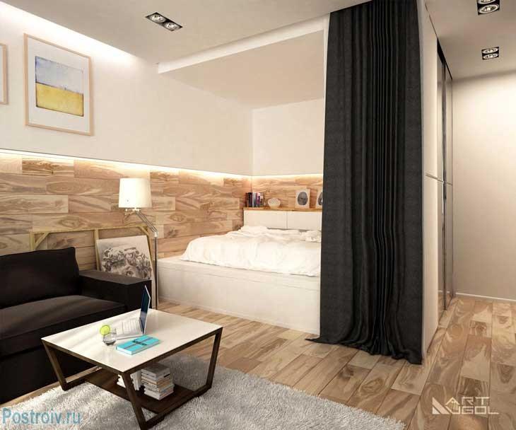 Как в однокомнатной квартире сделать отдельное место под спальню. Фото