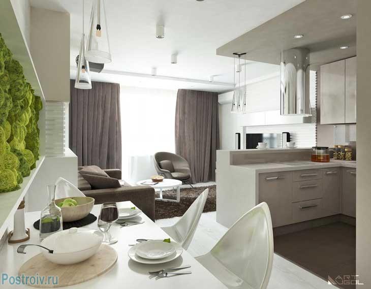 Фото ремонта современной квартиры.. Коричневые шторы в гостиной. Фото