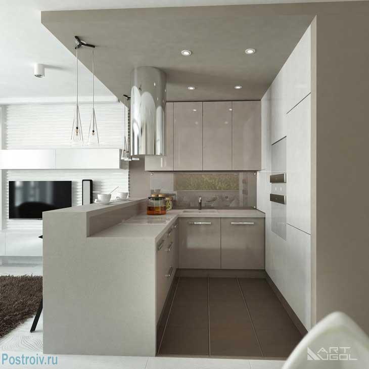 Кухонная зона и барная стойка. фото