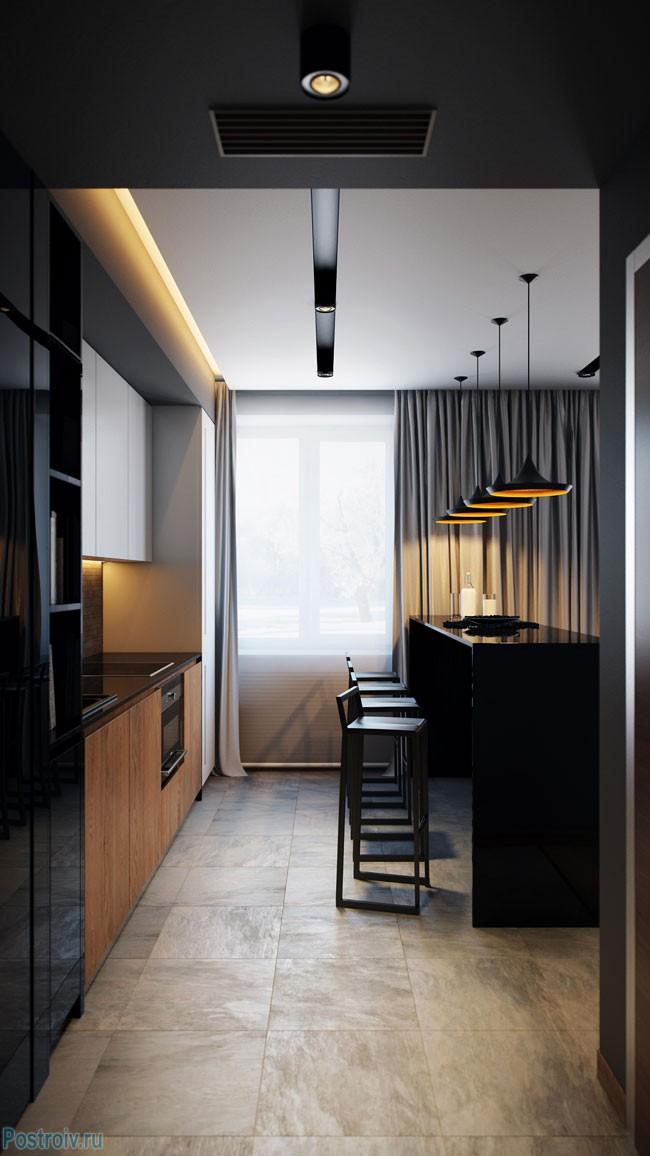 Парящий натяжной матовый белый потолок в кухне-гостиной. Фото