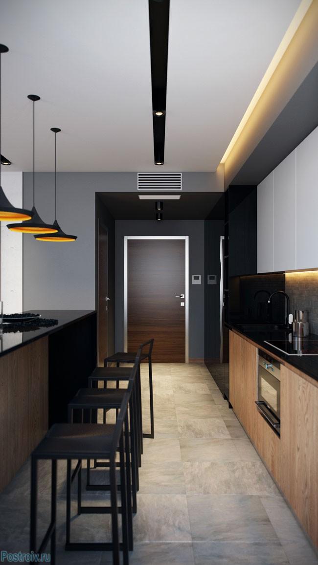 Фотография совмещенной кухни с гостиной