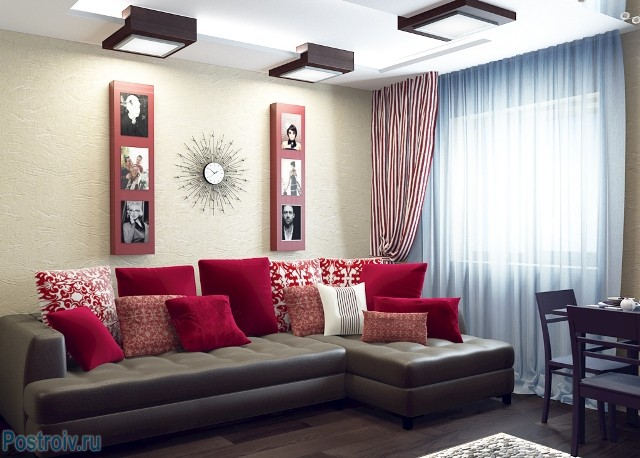 Дизайн интерьера гостиной - Фото 01
