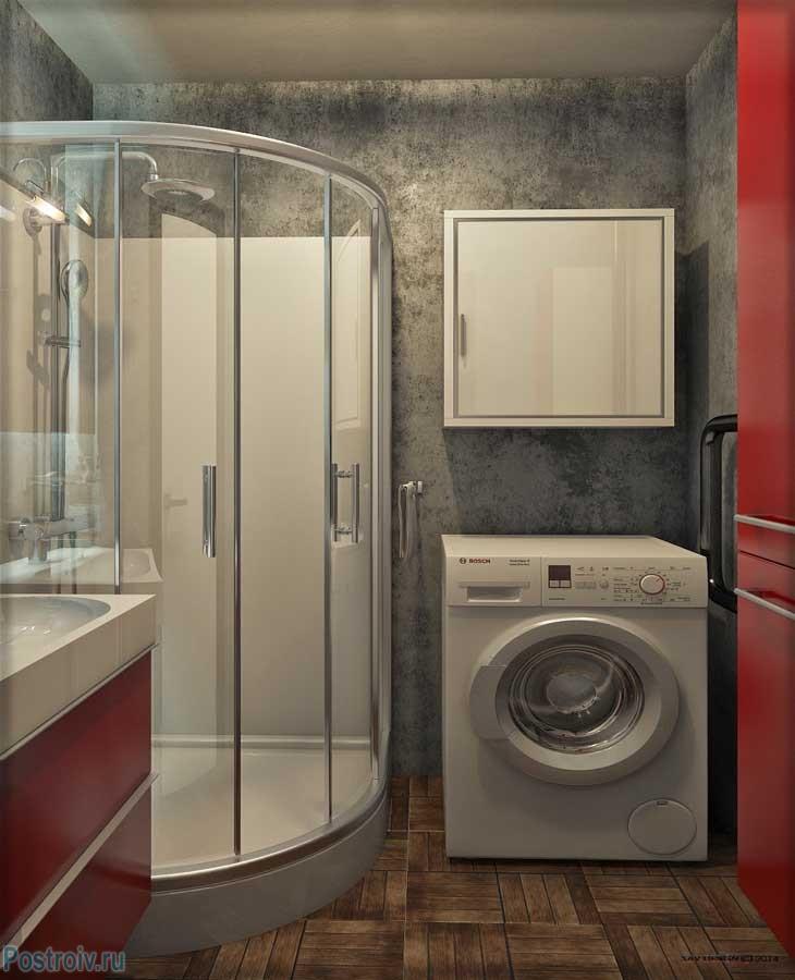 Дизайн ванной с душевой кабиной. Стены серые, фасады шкафов красные - Фото