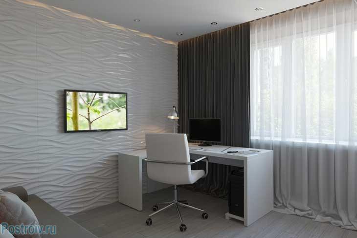 Простое зонирование спальни на кабинет и диванную - Фото