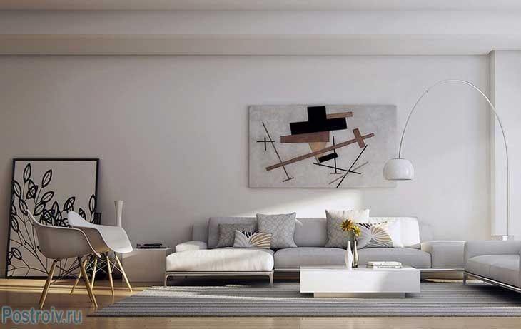 Бежевый интерьер гостиной. Фото