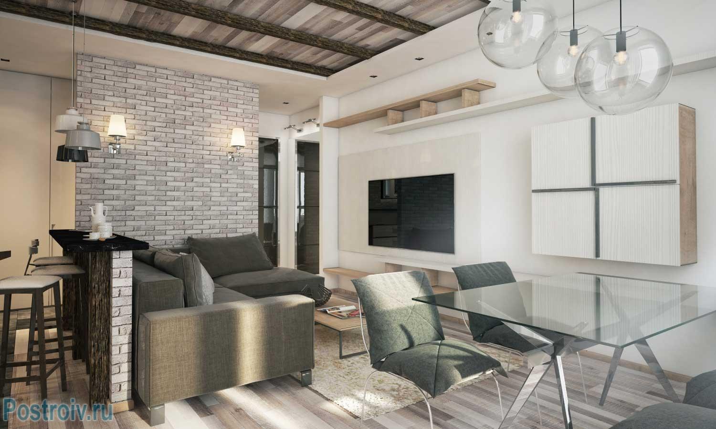 Дизайн светлой квартиры студии 40 кв. м. Фото