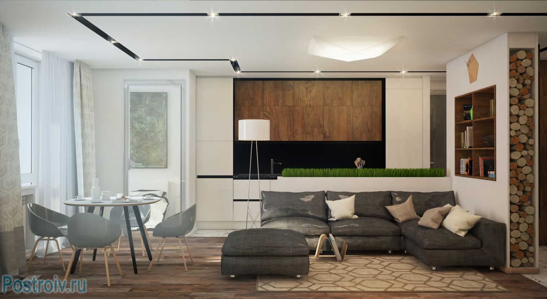 Второй вариант дизайна студии 40 кв. м. Фото