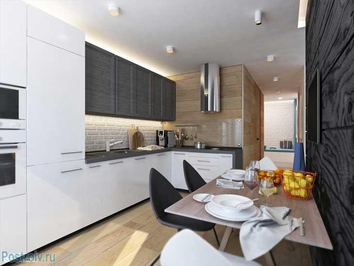Современная кухня в двухкомнатной квартире черно-белого цвета. Фото