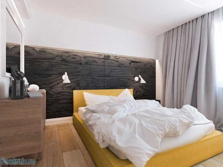 Черный, белый и желтый цвета в спальне девушки. Фото