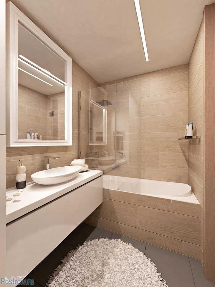 Бежевый санузел в 2 комнатной квартире. Фото