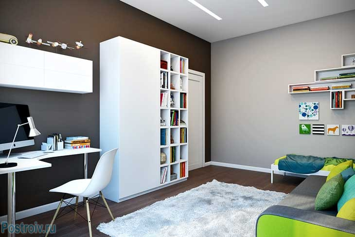 Рабочая зона в детской в дизайне трехкомнатной квартиры - Фото