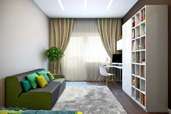 Дизайн комнаты 15, 16, 17, кв.м. в светлых тонах - Фото