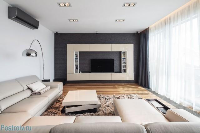 Дизайн гостиной в белых тонах - Фото 03