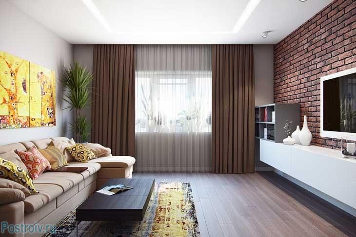 Модные плотные шторы в гостиной 2015 - Фото