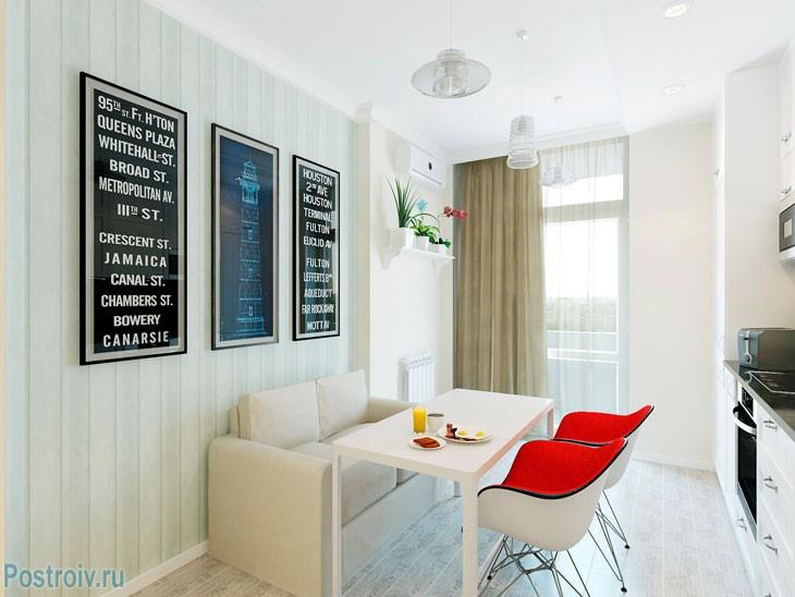 Кухня в скандинавском стиле в однокомнатной квартире. Фото